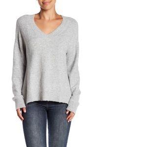 Melrose & Market Heather Gray V-Neck Knit Sweater